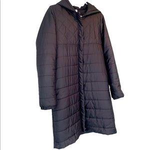 EUC Fabletics long black Puffy Coat w Hood, M